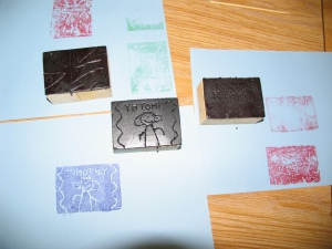 Prints from styrofoam wood blocks