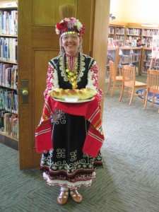 Librarian in Bulgarian dress