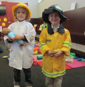 Dressing up as community helpers at CLP- Woods Run.
