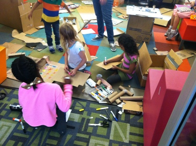 Creating cardboard arcade games at a Maker program